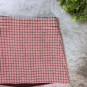 J. Crew Mini Skirt in Pink Houndstooth